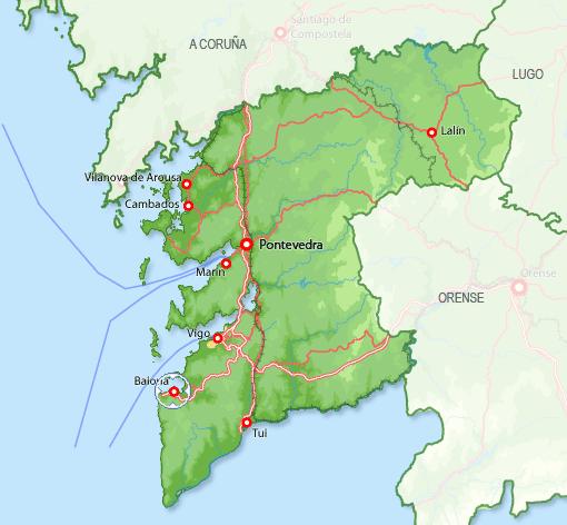 mapa baiona espanha 36300 código postal de Baiona mapa baiona espanha