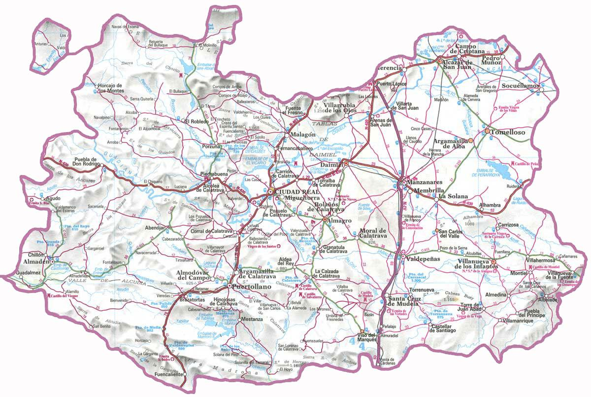Mapa Provincia Ciudad Real.13001 Codigo Postal De Ciudad Real