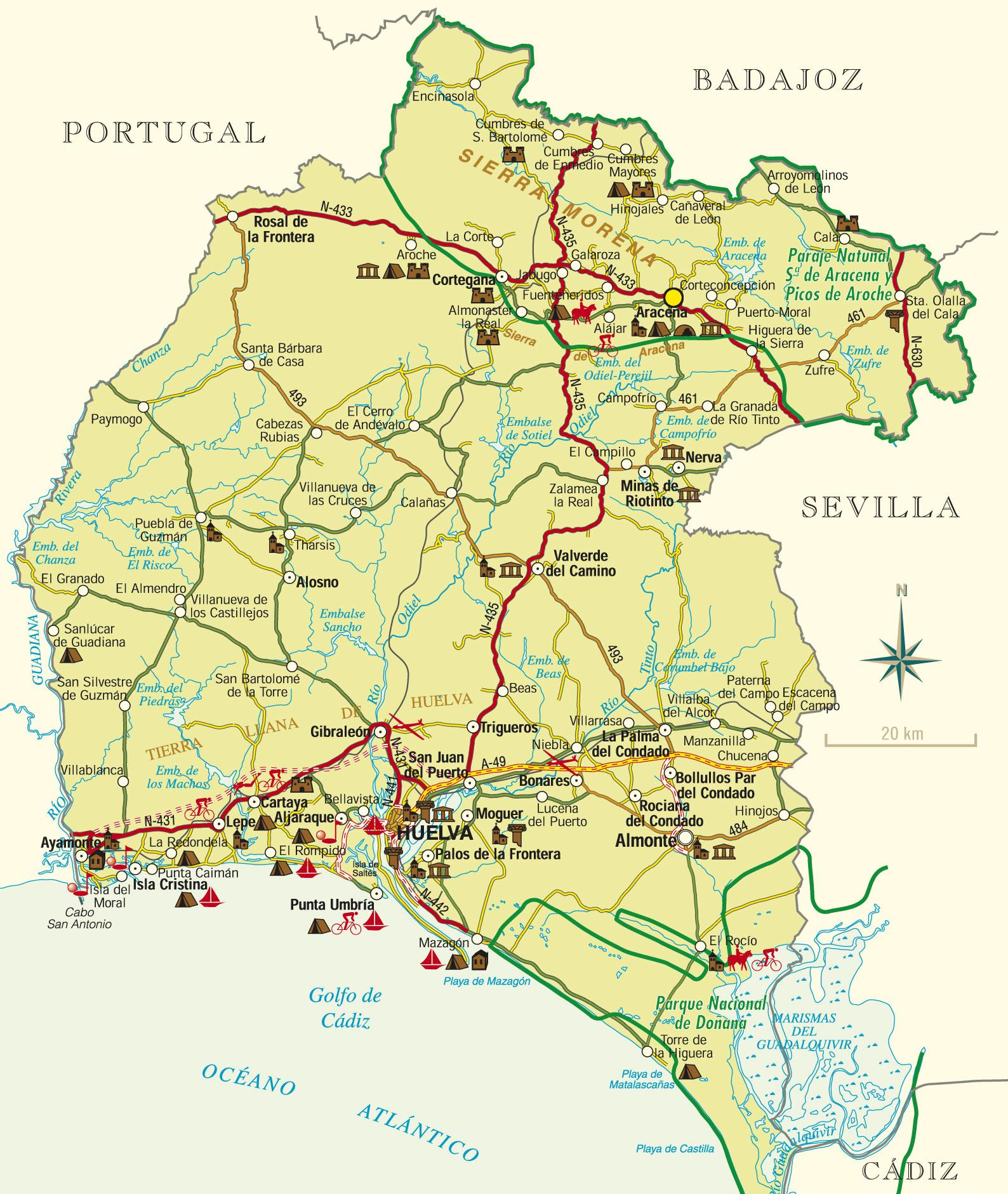 Pueblos De Huelva Mapa.21004 Codigo Postal De Huelva