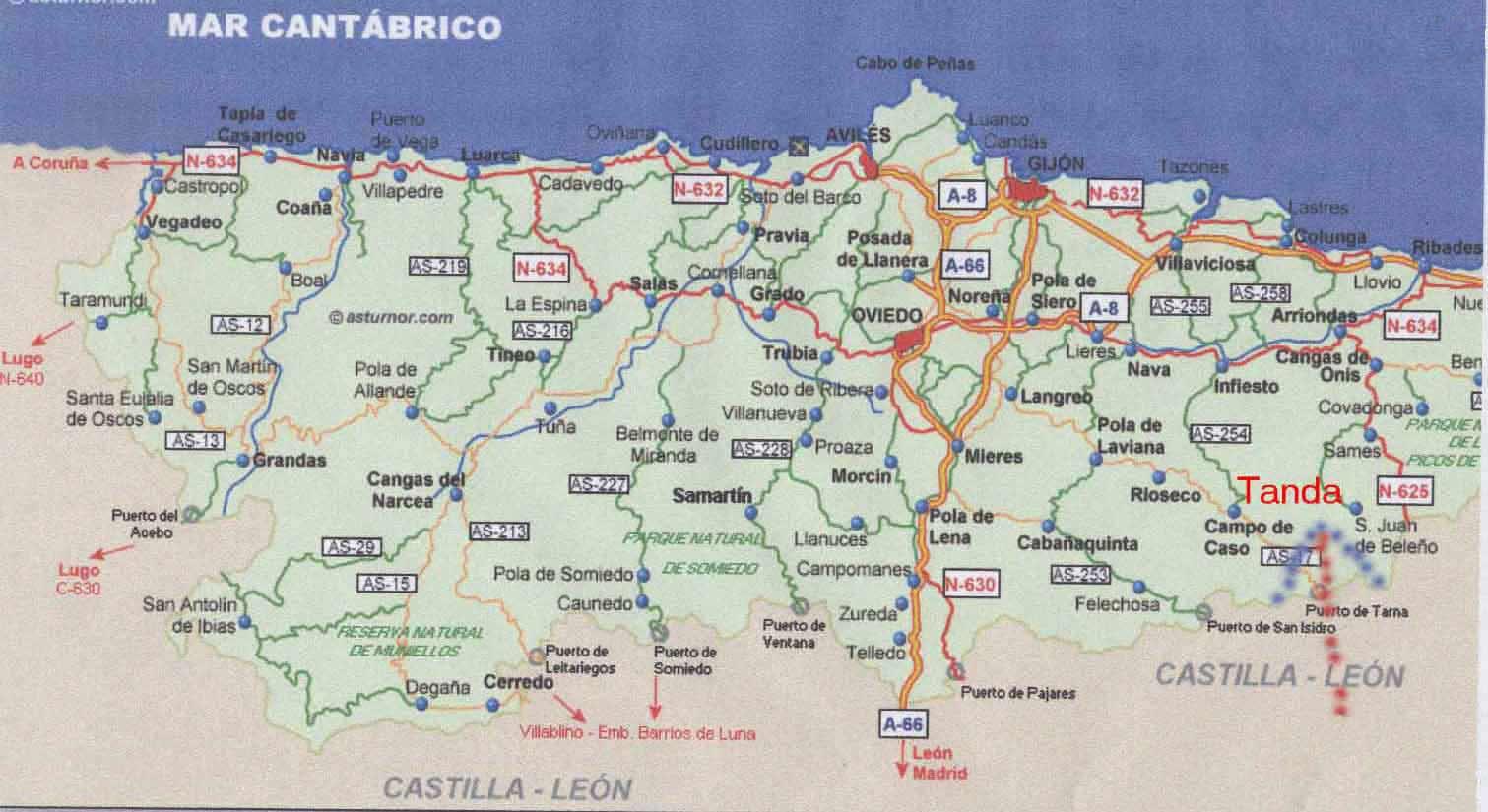 Pola De Laviana Mapa.33986 Codigo Postal De Laviana