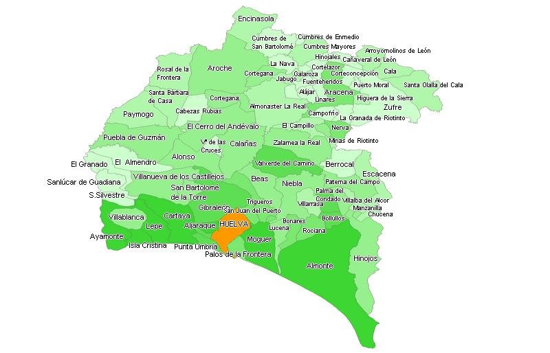 Pueblos De Huelva Mapa.Plano De La Provincia De Huelva