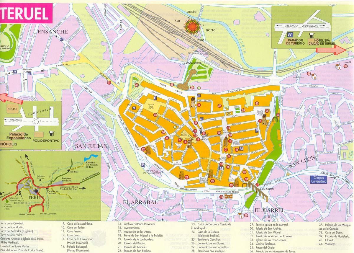 Mapa De Teruel Capital.44001 Codigo Postal De Teruel