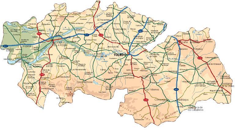 Mapa Provincia Toledo Carreteras.45003 Codigo Postal De Toledo